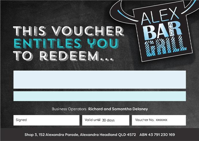 Alex Bar Grill Gift Vouchers